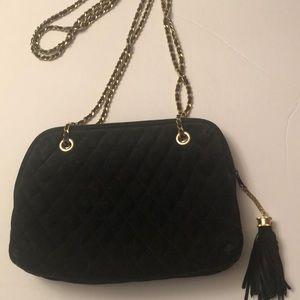 Vintage suede leather quilted handbag
